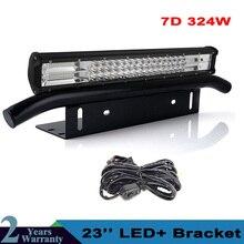 Barra de luz Led de 23 pulgadas y 324W + soporte de placa de matrícula delantera para camión, SUV, 4x4, 4WD, luces de conducción todo terreno, 12v, 24v