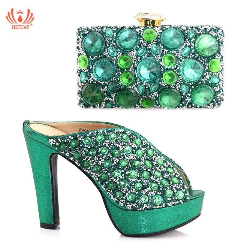 Or vert Femmes Sac Italiennes Nouvelles Italien Et rouge argent Avec Dames Africaines Chaussures Mariage Ensemble De Soirée Des Strass Décoré nwTq6awY
