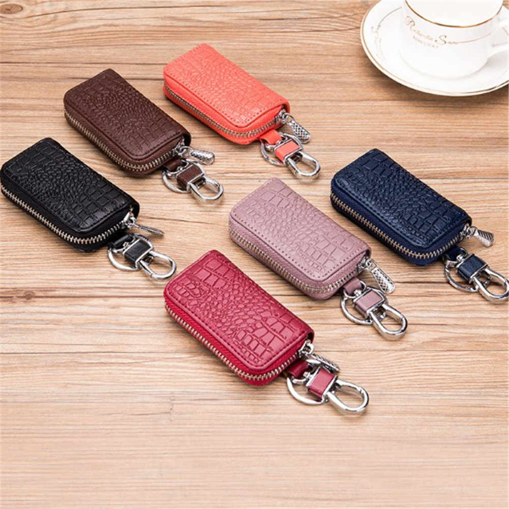 43886a5972c84 Emarald Brand Key Holder High Quality Genuine Cow Leather Crocodile Pattern Key  Case Zipper 6 Key