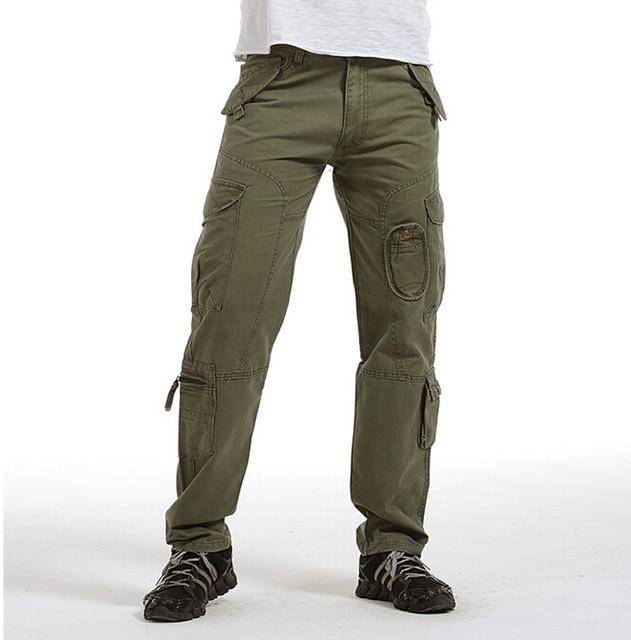 16051b74e0 Moda hombres del ejército de carga cremallera bolsillos tácticos militares  pantalones camuflaje de color caqui de