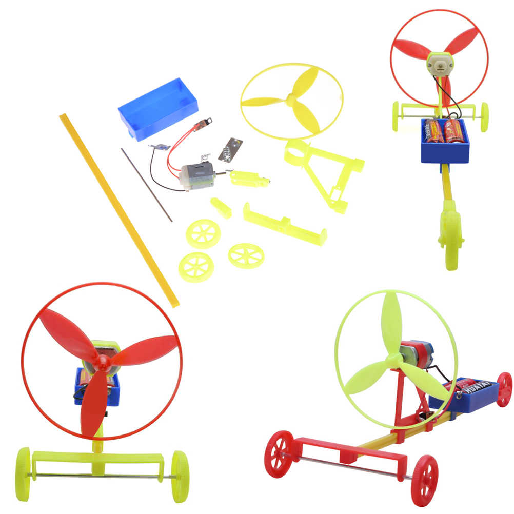 DIY coche de carreras F1 aire de hecho a mano viento Coche Ciencia experimento educativo juguete
