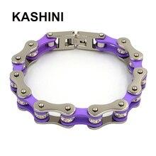 Punk Bike Chain Purple Color Bracelet Women Stainless Steel Link Motorcycle Bracelets Jewelry Gift For Woman недорого