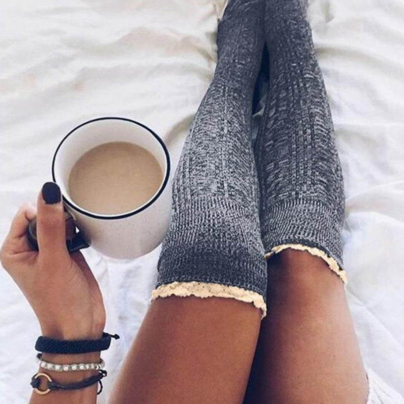 Women Knee High Lace Socks Over Knee Socks Thigh High Thick Girls Knitting Long Stockings JL