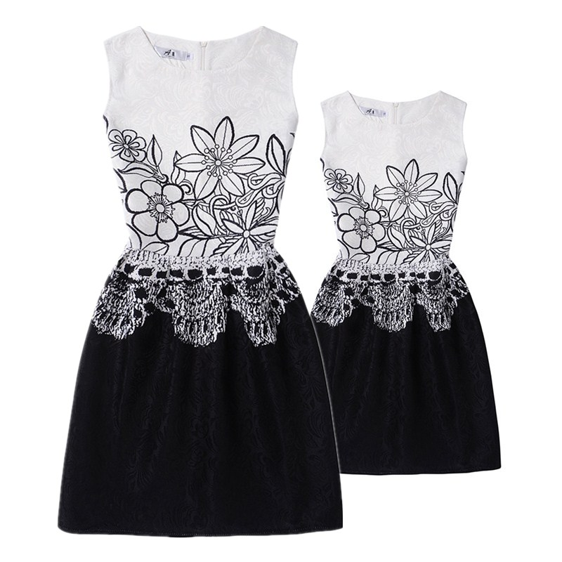 Mom and Daughter Dress Matching family look girl and mother Dresses fashion flower print sleeveless Mother daughter clothes