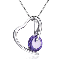 VOJEFEN Mother's Birthday Jewelry I Love You Mom S925 Sterling Silver Heart Pendant Necklace for Women