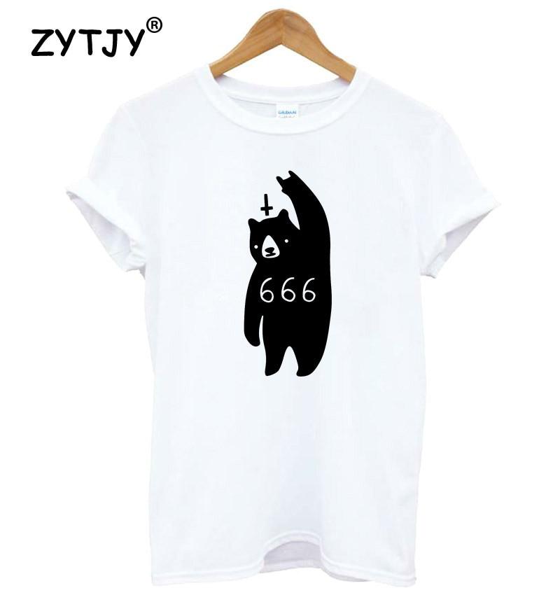bear metal 666 Print Women tshirt Cotton Casual Funny t shirt For Lady Yong Girl Top Tee Hipster Tumblr Drop Ship S-23