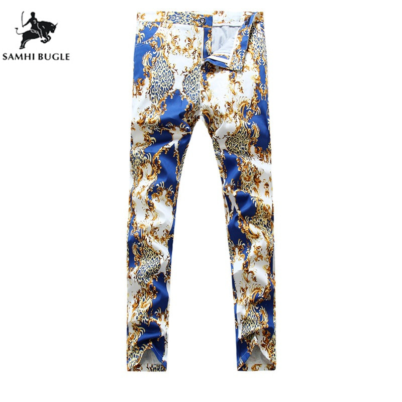 Jeans Men Stretch 2019 New Leopard Blue Print Denim Jeans Men Pant High Quality Brand Design Pantalon Jeans Homme