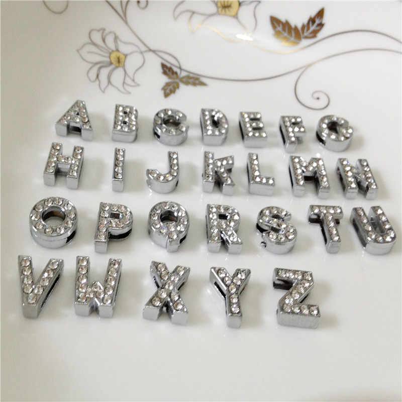 "10MM DIY Silver Full Rhinestones Slide Letters ""A-Z""Letters Choose Freely Fit 10MM DIY Belt Bracelet SL02"