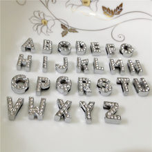 "10MM DIY Silver Full Rhinestones Slide Letters ""A-Z""Letters Choose Freely Fit 10MM DIY Belt Bracelet SL02(China)"
