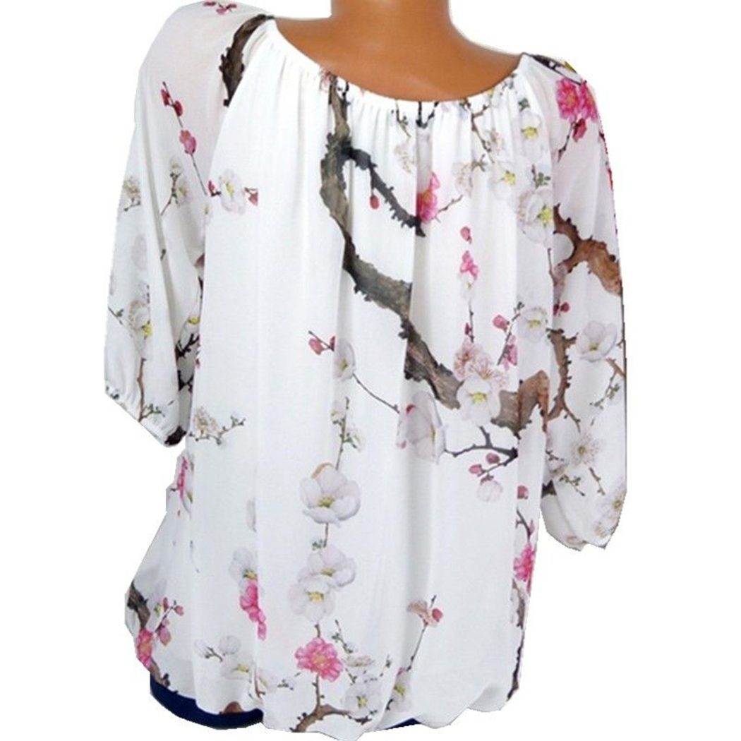 New Women Blouses Floral Printed Tops Casual Long Sleeve Loose Ladies Office Off Shoulder Shirt Tee Plus Size 5XL Blusas Z4 2