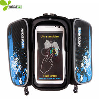 WOSAWE Bicycle Frame Front Head Waterproof Bike Bag With Pockets Double IPouch Cycling For 6 0