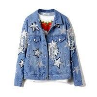 2019 Spring Punk Stye Denim Coats and Jackets Women Sequins Stars and Tassel Jean Jakcets Streetwear