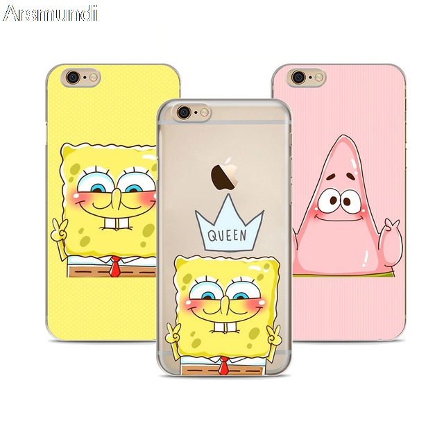 outlet store 64483 08b17 US $3.74 25% OFF|Arsmundi Best Friend Patrick Queen Spongebob Stars Phone  Cases for iPhone 5S 6 6S 7 8 X Case Crystal Clear Soft TPU Cover Cases-in  ...
