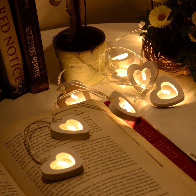 Romantic Wood Heart 1M 10 LED String Light Lámpara de San Valentín - Iluminación de vacaciones