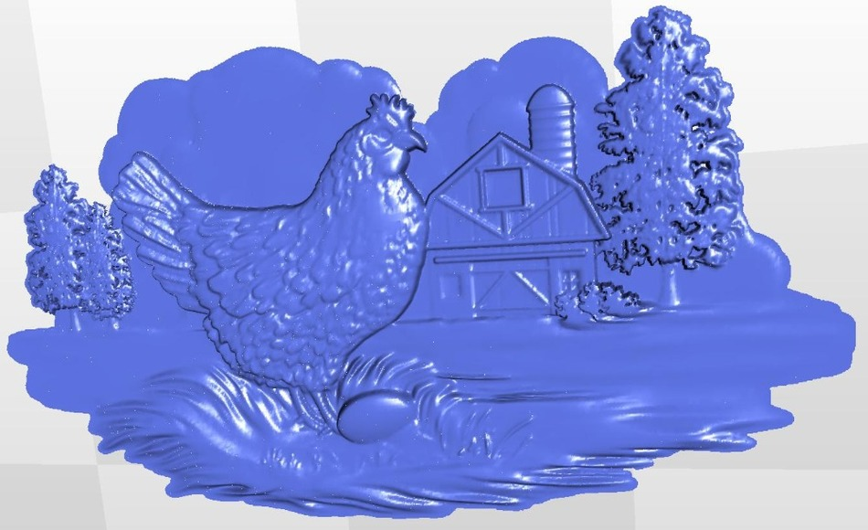 Panno_chicken for  cnc in STL file format 3d model relief panno hunting 2 for cnc in stl file format 3d model relief