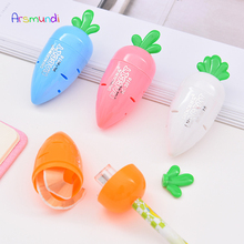 4Pcs Kawaii Lovely Plastic Carrot Automatic Pencil Sharpener Creative Stationery Gifts For Children School Supplies