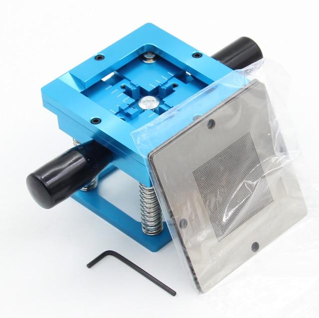 Синий комплект BGA, 90*90 мм, BGA станция с ручным хвостовиком, 10 шт., универсальные трафареты BGA