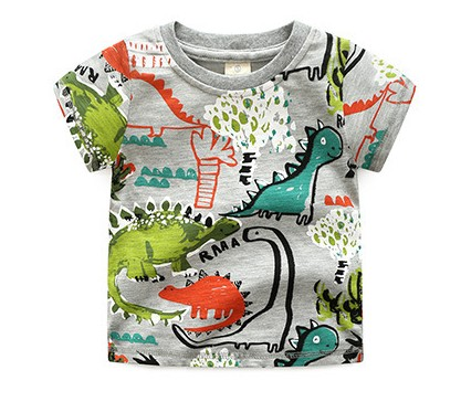 High-quality Brand Summer boys girls short-sleeve t-shirt Jurassic World dinosaur Print 100% Cotton Kid Clothes todder Tees tops