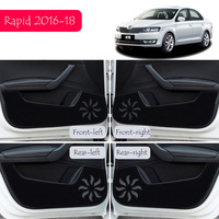For Skoda Rapid 2016 2017 2018 Car Door Anti Kick Pad Mat Protector Cover Stickers Car Styling 4Pcs/Set
