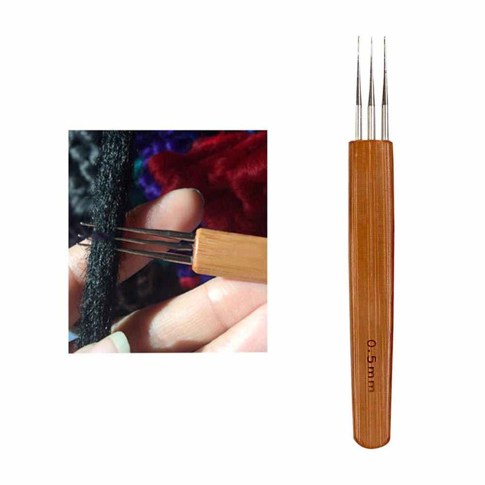 0,5 Mm 0,75 Mm superventas Nunify tres cabezas Crochet mango de bambú Triple cabeza Dreadlock gancho agujas para rastas herramienta de pelo