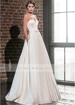 Elegant Sweetheart Satin Wedding Dress with Jacket Long Sleeve Floor Length Bridal Gowns Pockets Robe De Mariage 2