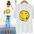 Moda de Verano tops camisetas de las señoras corta camiseta Floja Sonrisa de las mujeres t-camisa de vestir de Algodón femenina camiseta Ocasional Blanco