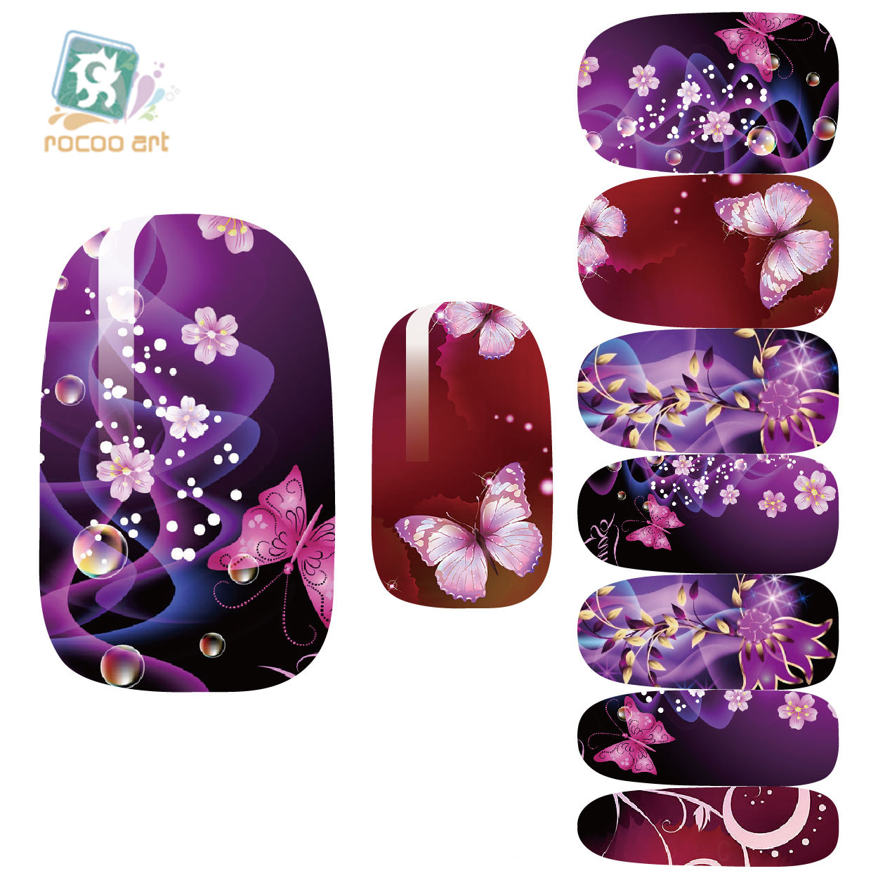 K5671 Newest Water Transfer Nail Foil Sticker Art Sexy Flirtatious Purple Shine Flowers Nail Wraps Sticker Manicure Decals