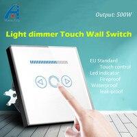 디머 스위치 크리스탈 유리 패널 벽 스위치, EU 표준 220 볼트 디밍 램프 전기 스위치 500