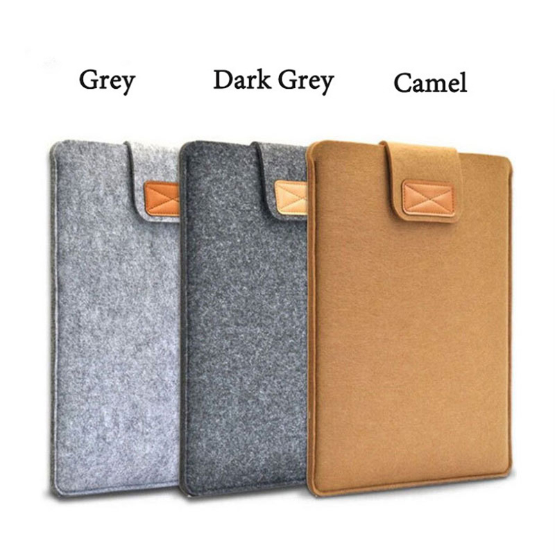 2018 Solid Wool Felt Laptop Sleeve Bag 11 13 14 15.4 Inch Pouch Case For Macbook Lenovo/HP/Dell Notebook Case Laptop Bag 13.3