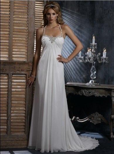 Simple Design Hot Sale Slim Line  with Dipped Neckline Halter Chiffon Wedding Dress