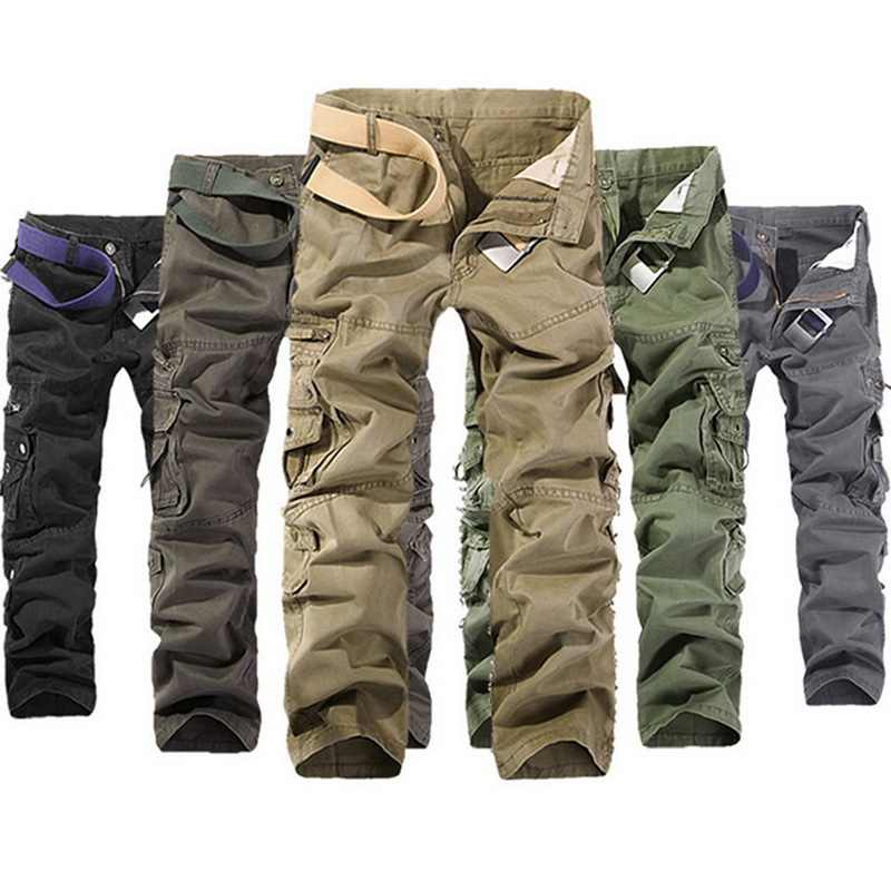 MoneRffi Mens Tactical Pants Joggers Casual Male Cargo Pants Cotton Trousers Multi Pocket Military Style Green Pants Size 40