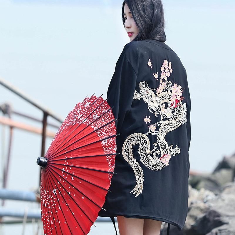 Harajuku Japanischen kimono strickjacke 2018 vintage neuheit sommer kirsche drachen stickerei chiffon sonnenschutz frauen kleidung