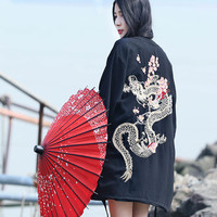 Japan Kimono 2017 Vintage Novelty Summer Harajuku Cherry Dragon Embroidery Chiffon Sun Protection Cardigan Women Clothing