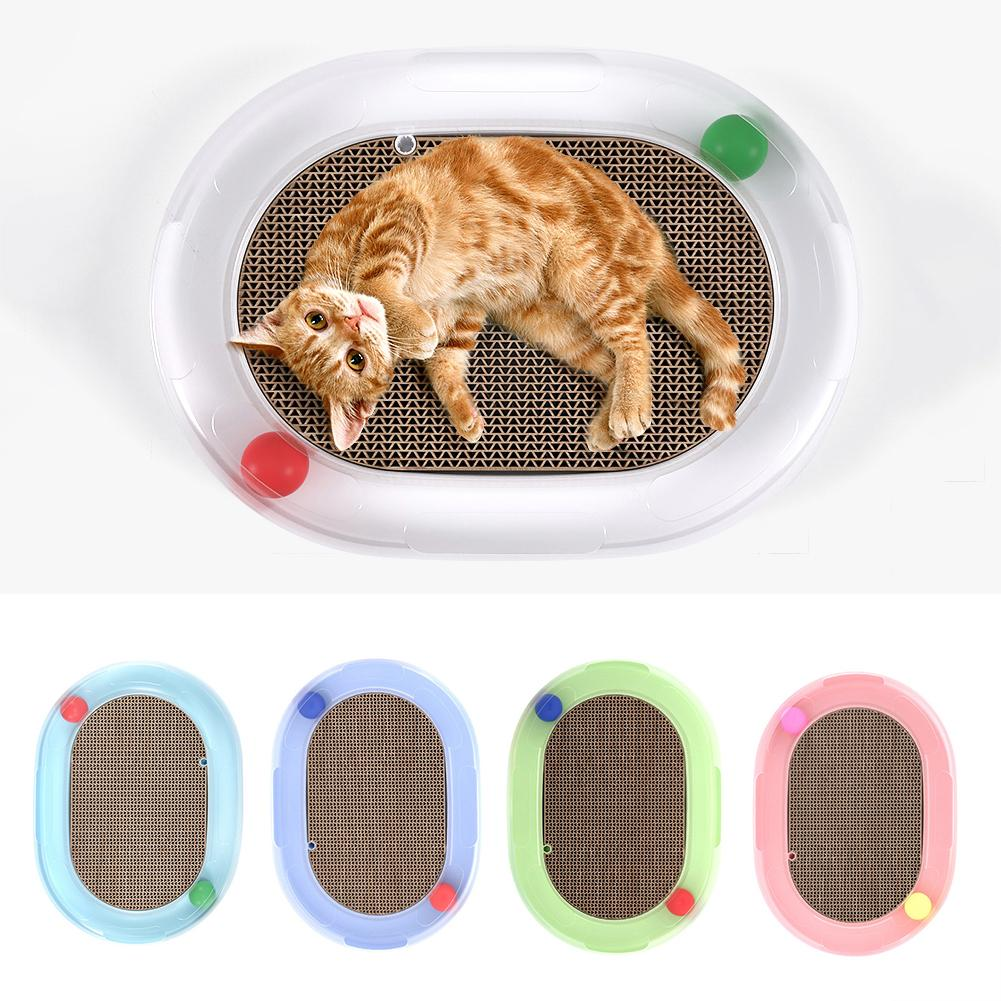 Rolling Balls Oval Kitten Cat Scratch Cat Toys Pad Plate Rotating Ball Spring Mouse Entertaining Interactive Toy