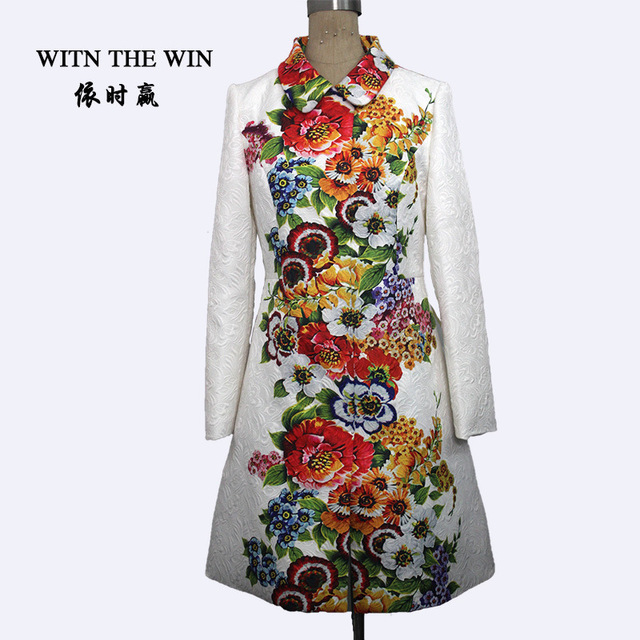 Plus size S-4XL 2016 Trench coat women turn-down collar white blue flower print jacquard outerwear Women's Overcoat