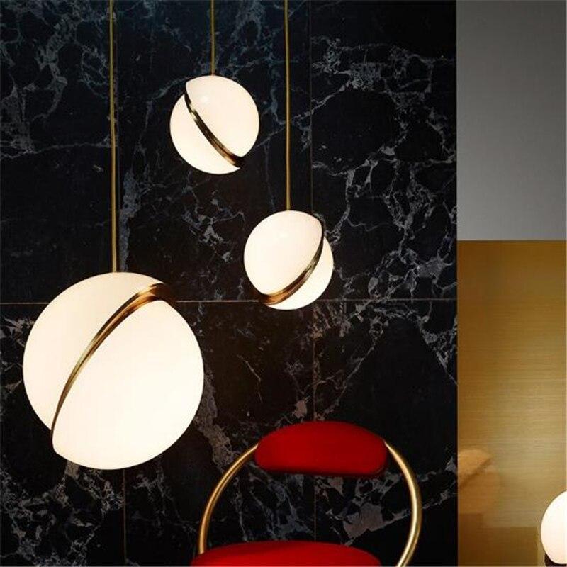 Retro Loft Creative Dining Room Pendant Light Concise Art Sphere Italy Designer Lights Living Room Led Light Free Shipping