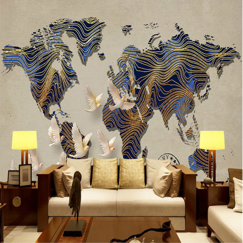 Retro World Map Wallpapers for Bar Coffee Shop 3d Wall Paper Vintage Decorative Painting Backdrop Home Improvement nostalgic retro brick wall 3d wallpaper for bar coffee shop wall paper tv background mural wallpapers home improvement decorate