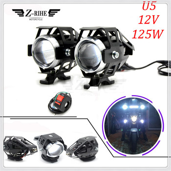 Universal 12V Motorcycle Metal Headlight Driving Spot Head Lamp Fog Light For KTM 250 390 690 990 Duke RC RC8 RC8R RC125 125 image