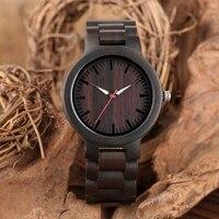 Top Luxury Black Full Wood Watches Men's Ebony Wood Band Clock Man Modern Quartz Watch Men Fold Clasp Relogio Masculino Top Gift