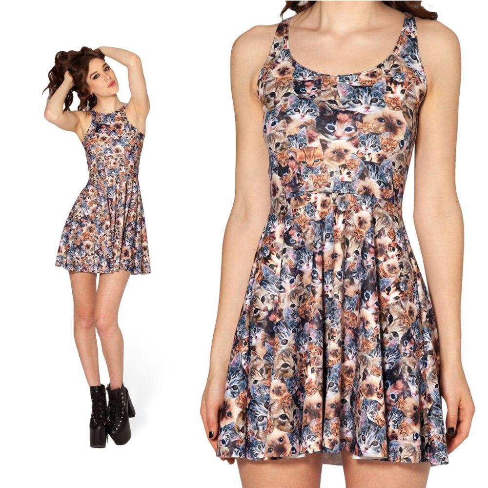 Women Summer Dress 2014 Fashion Designer Crazy Cat Lady Reversible ...