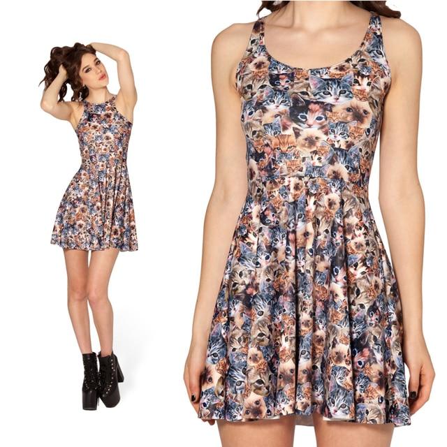 304a201142 Women Summer Dress 2014 Fashion Designer Crazy Cat Lady Reversible Skater  Dress Sleeveless Print Dresses Sexy Girl Dress