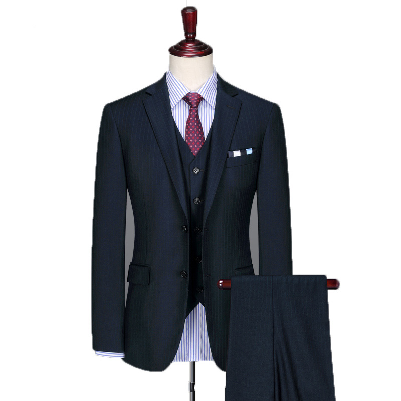 Man Custom Made Groom Tuxedos Customized Letters Groomsman Wool Suit Slim Homecoming Suit Wedding suit Striped wool suit 3 piece