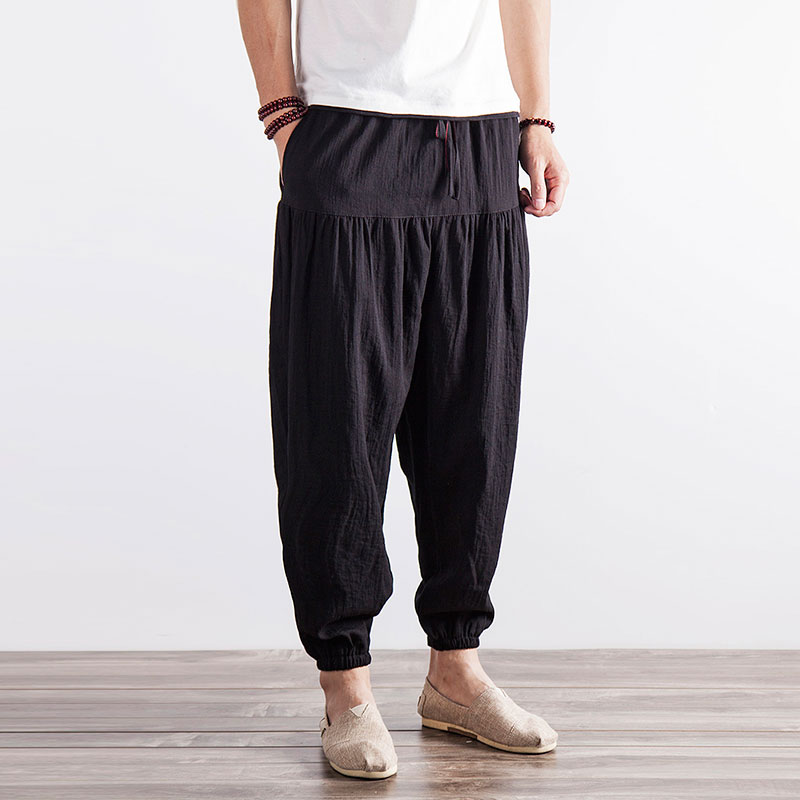 M-3XL!Chinese style summer fluid male casual loose harem pants plus size solid color vintage skinny trousers