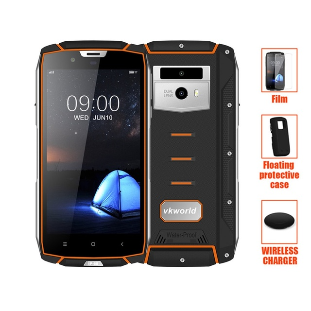 "Vkworld VK7000 IP68 Waterproof Smartphone 5.2"" MTK6750T Octa Core Android 8.0 Wireless Charge Cellphone 4GB+64GB 5600mAh battery"