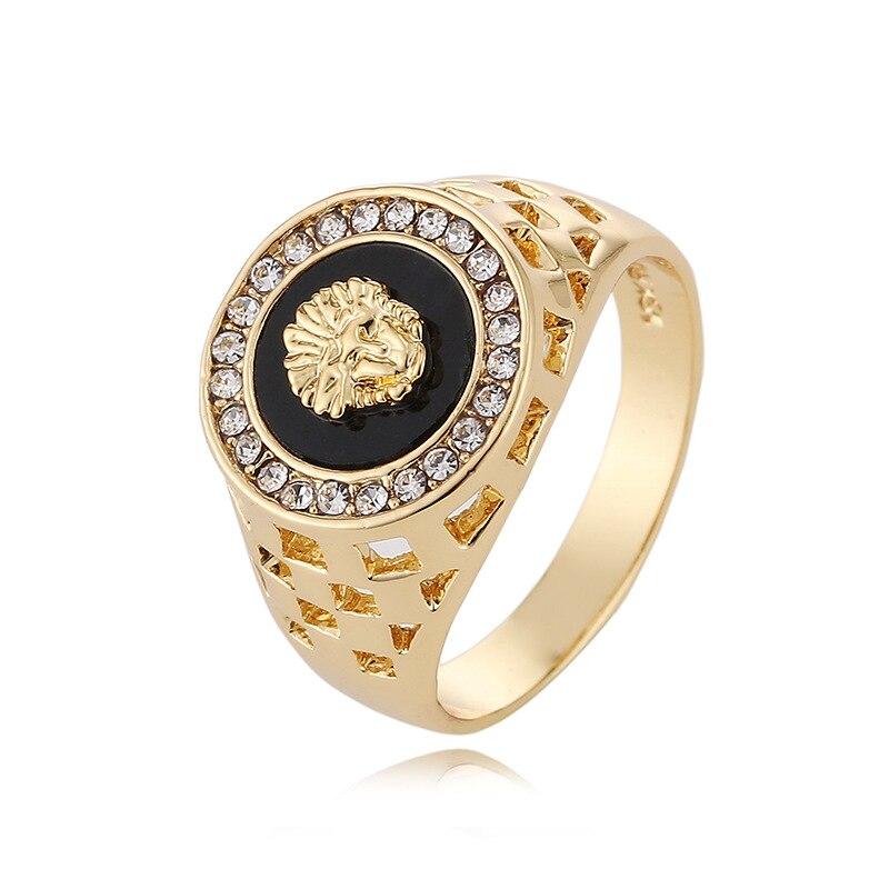 2018 בציר זכר זהב האריה ראש טבעת לגברים חתונה אירוסין טבעות פאנק רוק Biker גברים של טבעת תכשיטים