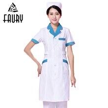 8fa6cbed9 ممرضة سترات العمل قصيرة الأكمام الصيف قابل للتعديل الخصر الجمال صالون وزرة  طبيبة طويلة معطف صيدلية العمل موحدة الملابس