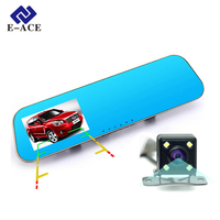 E-ACE Car Dvr Auto Video Recorder Rear View Mirror With Camera FHD 1080P Dashcam Dual Lens Parking Monitor Cars Registrator