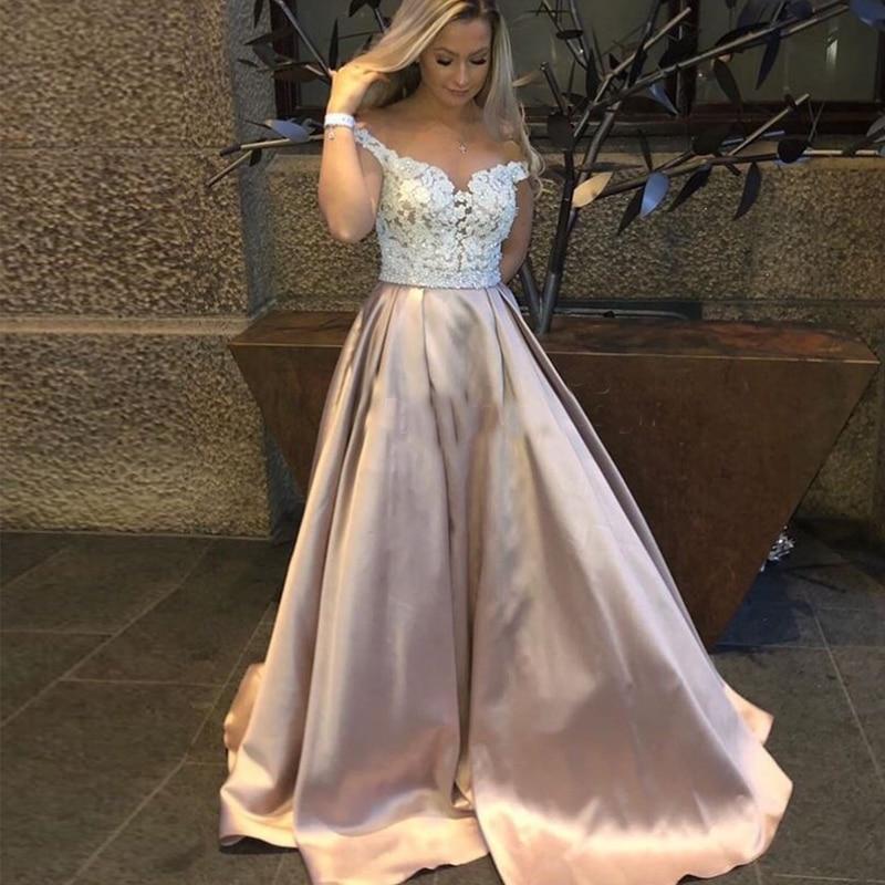 2019 Long   Prom     Dress   Off Shoulder Appliques Beaded A-line Women Formal Party   Dresses   Custom Made   Prom     Dress   Robe De Soiree