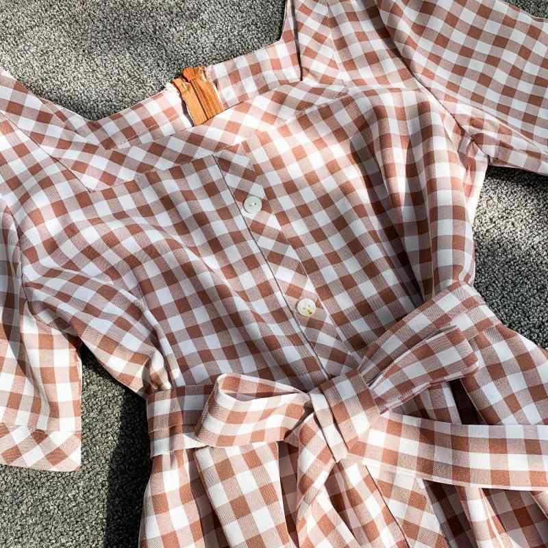 Новое тонкое 2019 винтажное летнее клетчатое длинное облегающее платье миди с принтом Женские Повседневные Вечерние Элегантные платья трапециевидной формы с галстуком на пуговицах