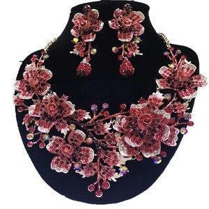Image 4 - Zestawy biżuterii ślubnej dubaj złota biżuteria kobiety duży naszyjnik zestawy kobiety naszyjnik 24k złote zestawy biżuterii Rose naszyjnik kwiatowy